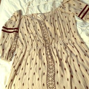 Cream and black off the shoulder midi dress